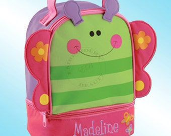 Lunchbox - Personalized and Embroidered - 2 Insulated Compartments - Lunch Pal - BUTTERFLY