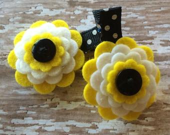 BUMBLE BEE Yellow White Black  Wool Felt Flower Hair Clips Baby, Toddler, Girls
