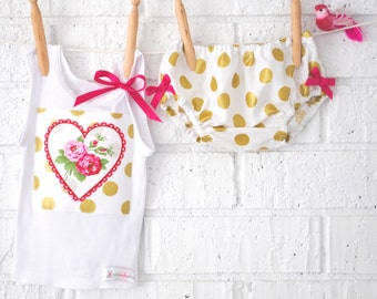 Glittered Gold Love Heart Baby Bloomers/ Tank Set