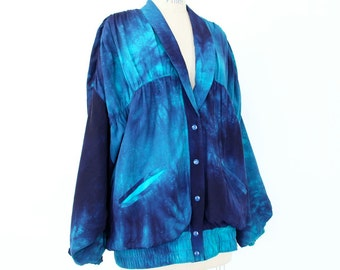 80s Tie Dye Jacket, Navy Sea Blue New Wave Windbreaker Ruched slouchy boho hippie shawl collar lightweight hipster club kid Hip Hop cardigan
