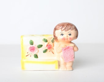 Vintage Ceramic Floral Toothbrush Holder