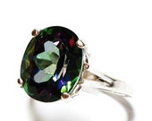 "Mystic topaz ring, solitaire ring, cocktail ring, engagement ring, anniversary, green blue purple, s 5 1/2  ""Mysterious"""