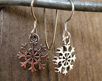 Titanium Snowflake Earrings, Antiqued Silver, Tiny Snowflake Charms on Hypoallergenic Titanium Ear Wires