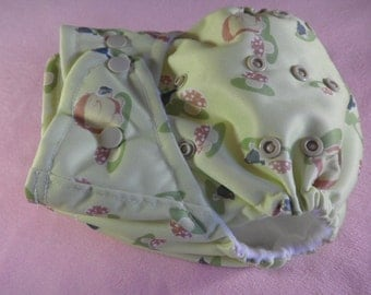 SassyCloth one size pocket diaper with hedgehog  PUL print. Ready to ship.