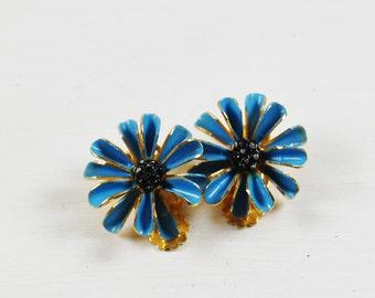 Vintage Medium Blue Enamel and Gold Tone Metal Clip On Earrings
