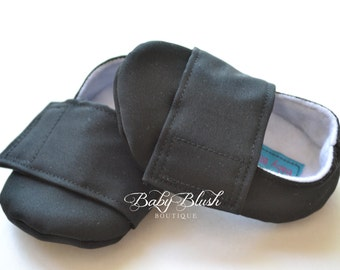 Plain Black  Baby Boy Soft Soled Baby Shoes - Infant Shoes