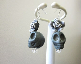 Sugar Skull Earrings Gray White Black Rose Flower