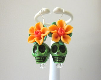 Sugar Skull Earrings Green Orange Rose Flower Day Of The Dead Jewelry