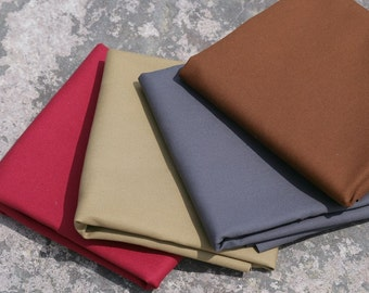 """English cotton sanded canvas fabric - 1/2 yard of 60"""" wide medium weight in a choice of four colours"""