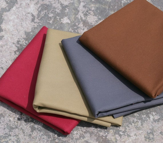 "English cotton sanded canvas fabric - 1/2 yard of 60"" wide medium weight in a choice of four colours"