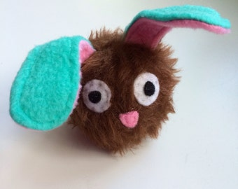 Baby Dust Bunny - Squeaky Dog Toy - Brown and Turquoise