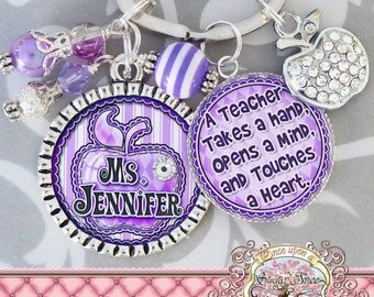 TEACHER GIFT PERSONALIZED Name Bezel Key Chain, Purple, Apple, Bottle Cap (or Necklace)-Teacher Appreciation Gift, Thank You Gift