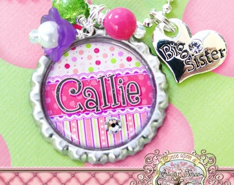 Big SISTER Necklace, Personalized Name Bottle Cap Necklace, Big Sister Charm, Birthday, Gift, New Sister, Flower Girl, Polka Dot