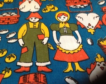Vintage Farmer and Maid fabric