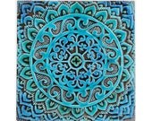 Mandala wall hanging made from ceramic - exterior wall art - mandala art - mandala wall hanging - handmade tile - mandala1 - turquoise