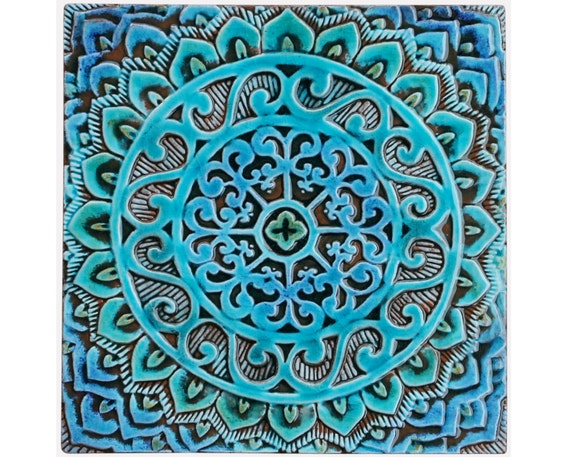 Mandala wall hanging made from ceramic exterior wall art