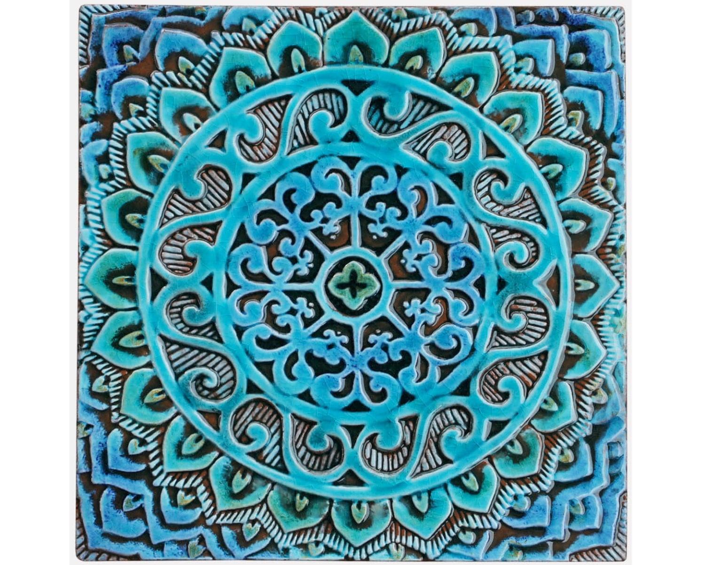 Mandala wall hanging made from ceramic exterior wall art for Ceramic wall art