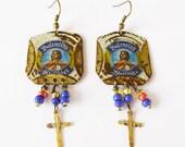 Valentins framed blue white beer cap earrings