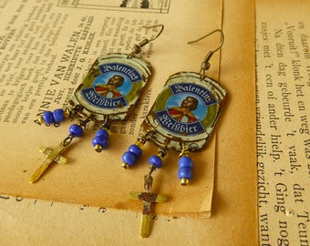 Valentins blue and gold bottle cap earrings
