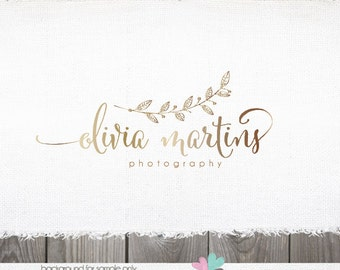 logo - photography Logo - logo design - Photography Logo Gold Leaf Twig Branch Modern Premade Boutique Logo Design