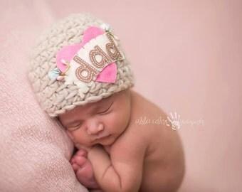 Dad Hat / Crochet Dad Beanie / Heart Hat / I Love Dad Hat