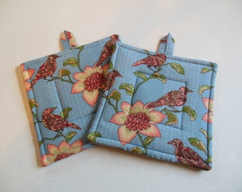 Birds and Flowers pair of Blue Potholders