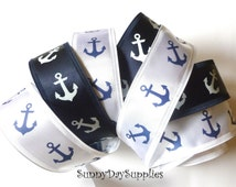 Anchor, Nautical Ribbon, Navy Blue Or White Satin with Anchors, Patriotic Ribbon,Wired ~2 YARDS~ 1.5 inches wide~ Made in USA~ Wreath Ribbon