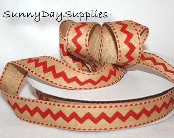 CLEARANCE, Chevron Twill Fabric Ribbon Trim, Red Chevron Ribbon, 10 YARD Roll, 7/8 inch wide, Chevron Ribbon, Tape or Trim, Red twill