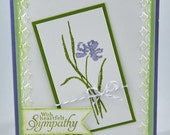 Sympathy Greeting Card, Thinking Of You, Heartfelt, Flower, Leaves, Purple, Lavendar, Green, White, Tulips, Friend, Family, Stamped, Blank