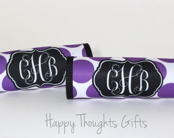 TWO Monogrammed Luggage Handle Wraps - Monogrammed Luggage Finders- Personalized - Monogram Gift