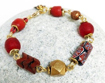 African trade bead bracelet - authentic african trade beads, millefiori glass beads, red bead bracelet, glass beads