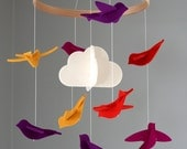100% Merino Wool Felt Baby Mobile - Eco-Friendly - Rich, Lightfast Colors - Heirloom Quality - Orange, Purple, Fuchsia and Yellow Birds