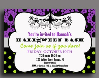 Halloween Invitation Printable or Printed with FREE SHIPPING-ANY Wording - Glam Halloween Party Collection