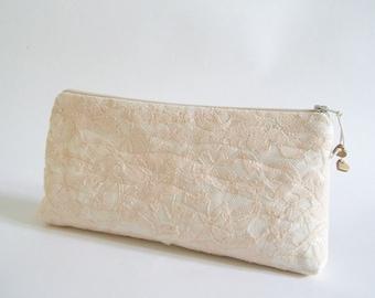 Peach Lace Clutch, Lace Wedding Clutch, Pastel Lace Purse, Bridesmaid Lace Clutch, Prom Clutch Girl