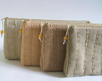 Autumn Wedding Bags, Bridesmaids Gift Bags, Set of 4 Pastel Bags, Barn Wedding Gifts, Rustic Wedding Clutches