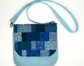 Bag Messenger iPad Nook Kindle eReader Tablet Patchwork Blue Shoulder Bag