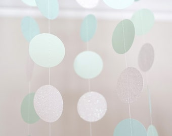 Mint, Robin Blue, Glitter White and Regular White Paper Circle Garland, Photo Prop, Party Decoration, Event Decor