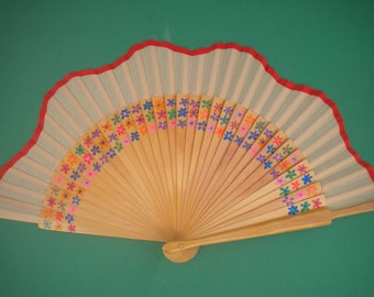 Ditsy Floral Flower Wooden Hand Fan -  MTO