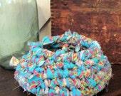 Hand Crochet Rag Basket Soft Side Storage Bin Container Turquoise Pink Green
