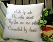 Sisters Custom Embroidered Pillow Cover Sister Pillow Sham Custom Embroidery Birthday Gift Side By Side Sisters