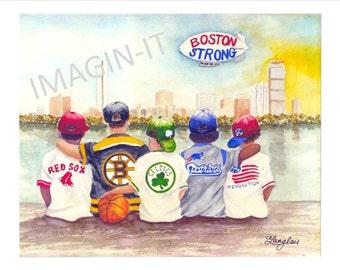 Mixed Race - Boston Strong Print - 11x14  - Red Sox, Bruins, Celtics, Patriots & Revolution kids watch Boston skyline