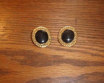 vintage clip on earrings goldtone black