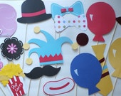 CIRCUS OR CARNIVAL themed photo booth props  16 nice sz pieces for your kids themed event