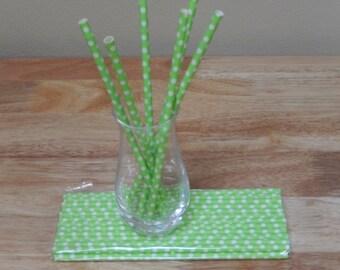 25 lime green polka dot paper drinking straws