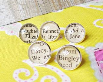 Pride and Prejudice Thumbtack Set. Push Pins Jane Austen Mr Darcy Elizabeth Bennet. Bingley Jane Silver Handmade Office Stationery Supplies
