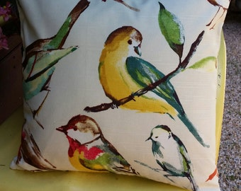 Bird Pillow Cover. Zipper Closure . Fully Lined . Richloom Birdwatcher Meadow . Handmade by Seams Original. Beautiful Watercolor Design