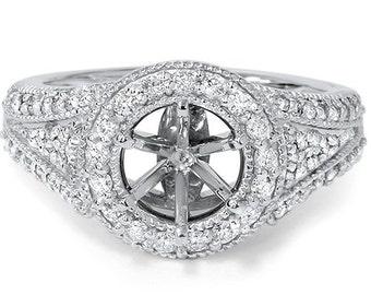 Diamond .60CT Round Halo Engagement Ring Setting 14K White Gold