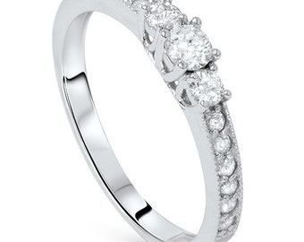 Diamond SI1 .55CT 3-Stone Round Ring 14K White Gold