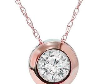 Round .34CT Bezel Solitaire Diamond Pendant Rose Gold