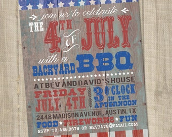 Western Fourth of July Invitation, 4th of July Invitation, 4th of July Party, PRINTABLE, Rustic Fourth of July, Fourth of July Birthday